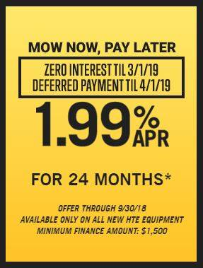 Hustler Turf Equipment Mow Now, Pay Later - 1.99% for 24 Months!