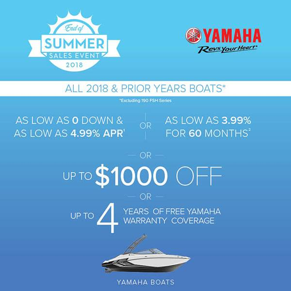 Yamaha Motor Corp., USA Yamaha Boats - End of Summer Sales Event - $1,000 OFF