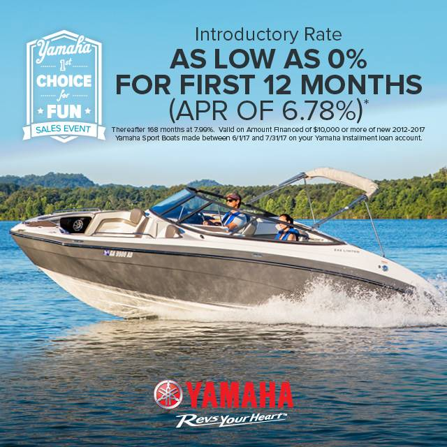 Yamaha Motor Corp., USA Yamaha Boats - 1st Choice for Fun Sales Event - 0% for 12 Months