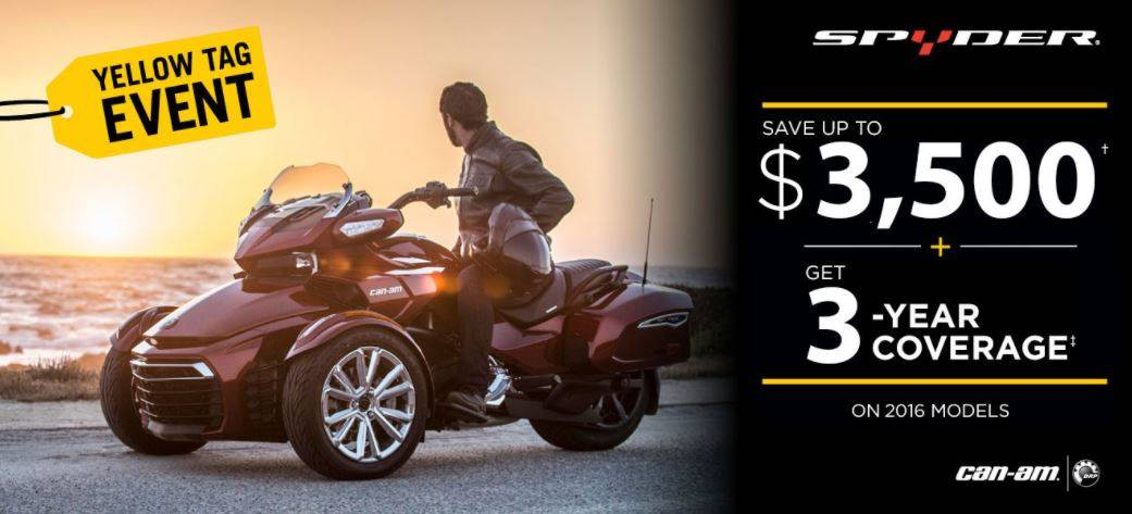 Can-Am Spyder Yellow Tag Event - 2016 Models