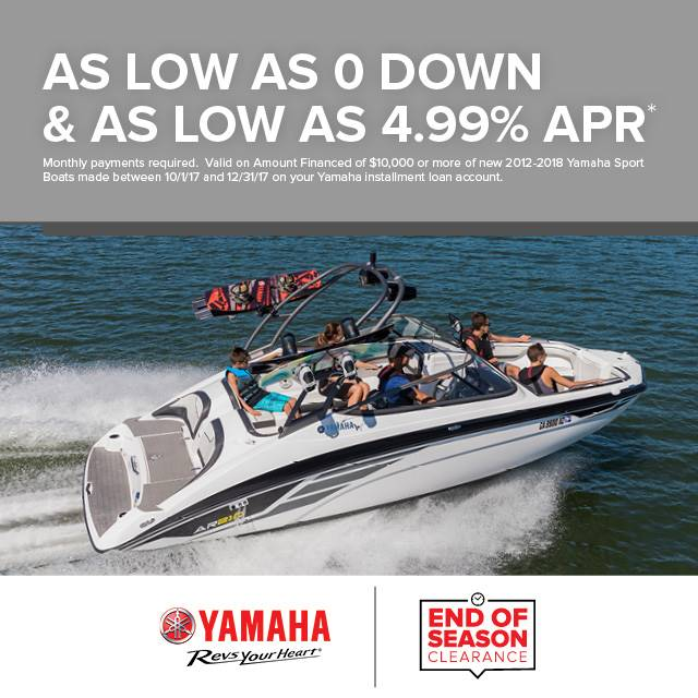 Yamaha Motor Corp., USA Yamaha Boats - As Low As 0 Down and 4.99%
