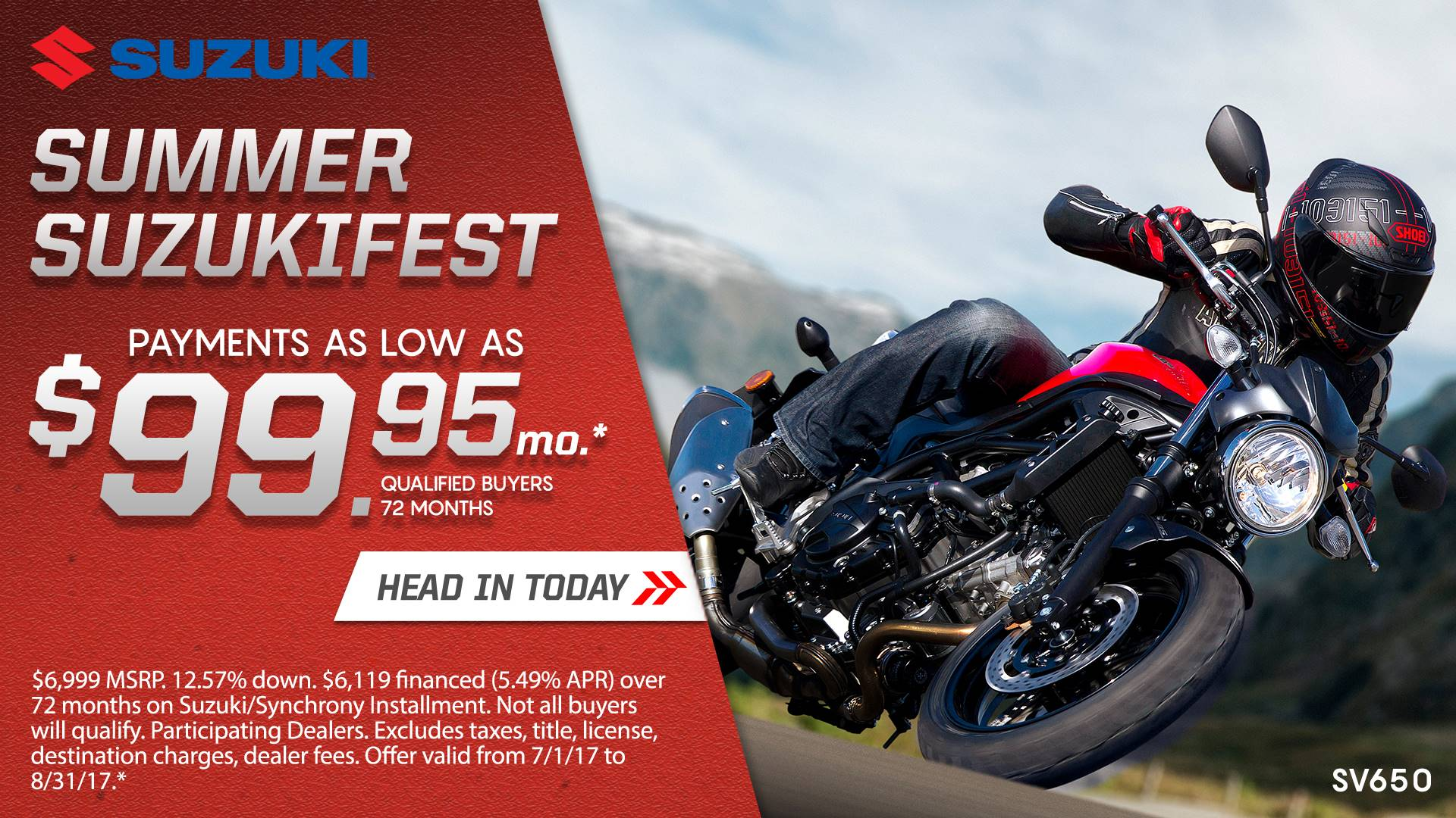 Suzuki Motor of America Inc. Suzuki Suzukifest Sportbike and Standard Motorcycle Financing as Low as 0% APR for 36 Months or Customer Cash Offer