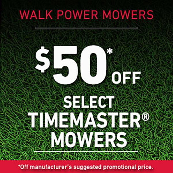 Toro - $50* Off select TIMEMASTER MOWERS