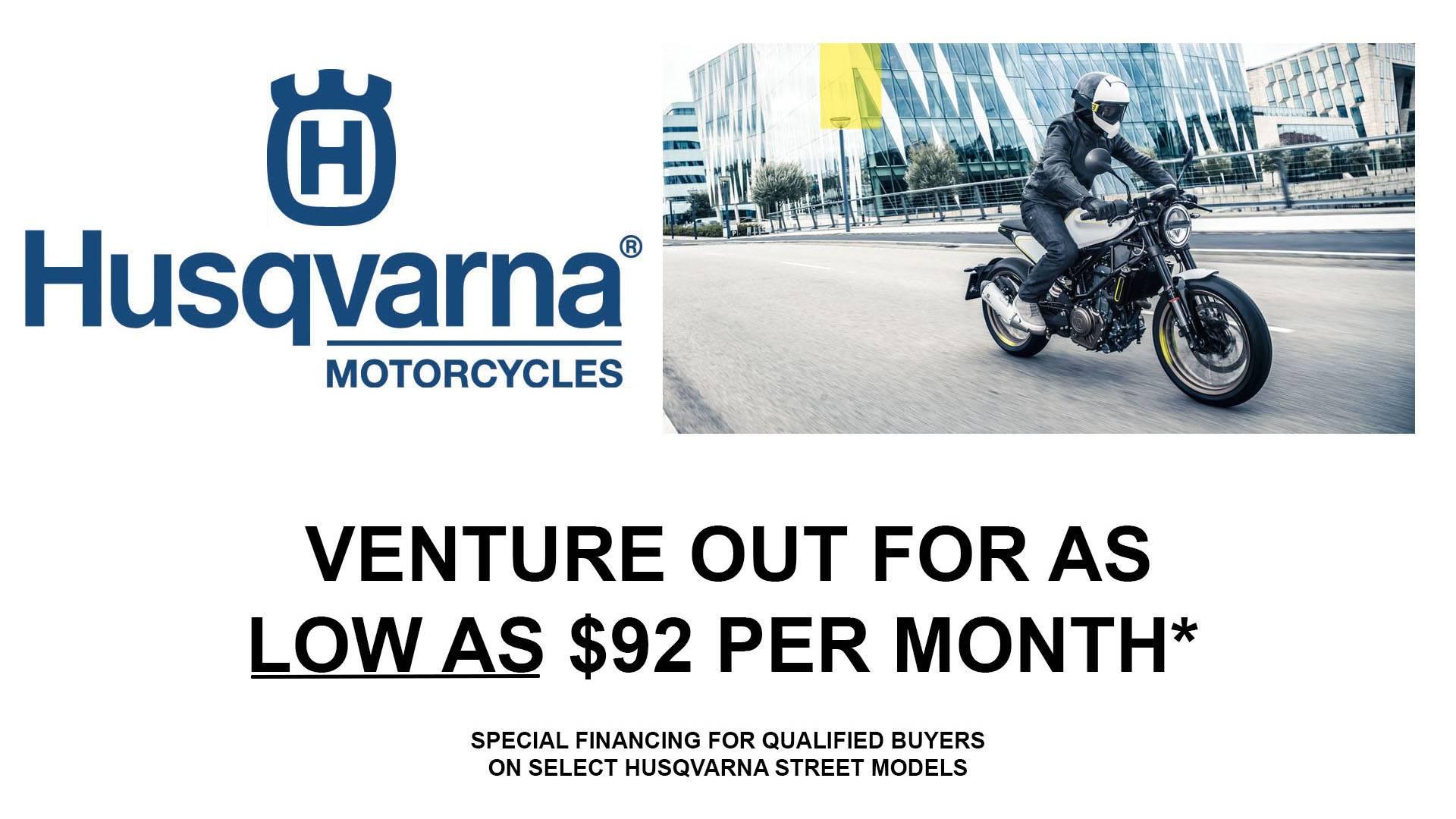 Husqvarna - Venture Out - Street Retail Finance Program