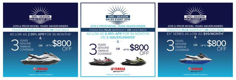 Yamaha Motor Corp., USA Yamaha Waverunners - End of Season Sales Event 2019