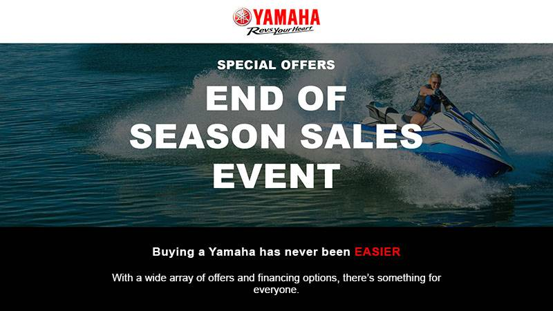Yamaha Motor Corp., USA Yamaha Waverunners - End of Season Sales Event