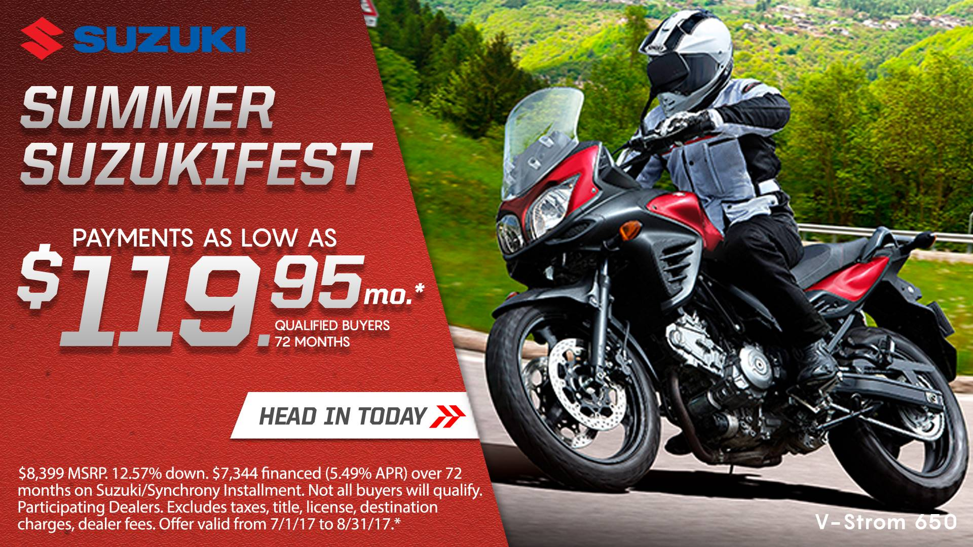 Suzuki Motor of America Inc. Suzuki Suzukifest DualSport and Adventure Motorcycle Financing as Low as 0% APR for 36 Months or Customer Cash Offer