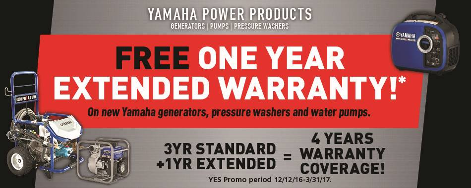 Yamaha Motor Corp., USA The Yamaha NEW YEAR'S SALES EVENT - Power Equipment - Extended Warranty - MY2014-2016