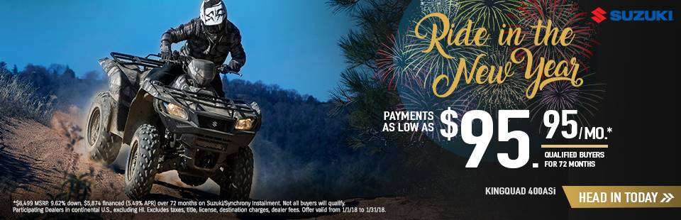 Suzuki Motor of America Inc. Suzuki Ride in the New Year with Sport and Utility Sport ATV Models