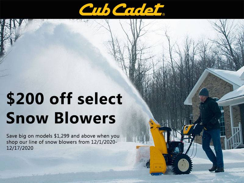 Cub Cadet - Save $200 on select snow blowers