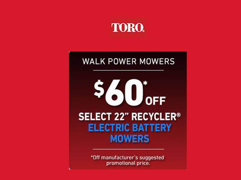 "Toro - $60 Off Select 22"" Recycler Electric Battery Mowers"