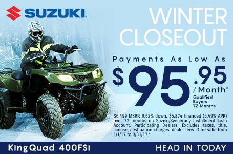 Suzuki Motor of America Inc. Suzuki Payments As Low As $95.95