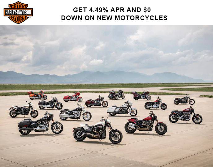 Harley-Davidson - Get 3.99%* APR and $0 Down* on New Motorcycles