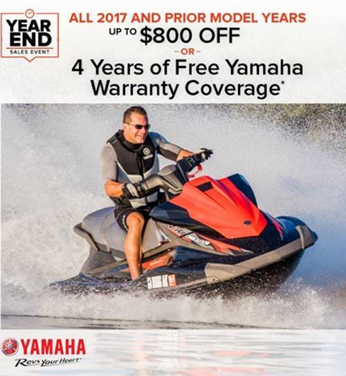 Yamaha Motor Corp., USA Yamaha Waverunners - Year End Sales Event - Up To $800 Off OR Free Warranty Coverage