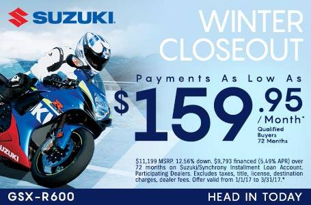 Suzuki Payments As Low as $159.95