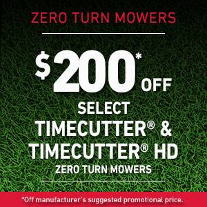 Toro - $200* OFF SELECT TIMECUTTER AND TIMECUTTER HD ZERO TURN MOWERS