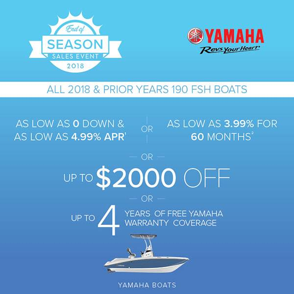 Yamaha Motor Corp., USA Yamaha Boats - Up to $2000 Off