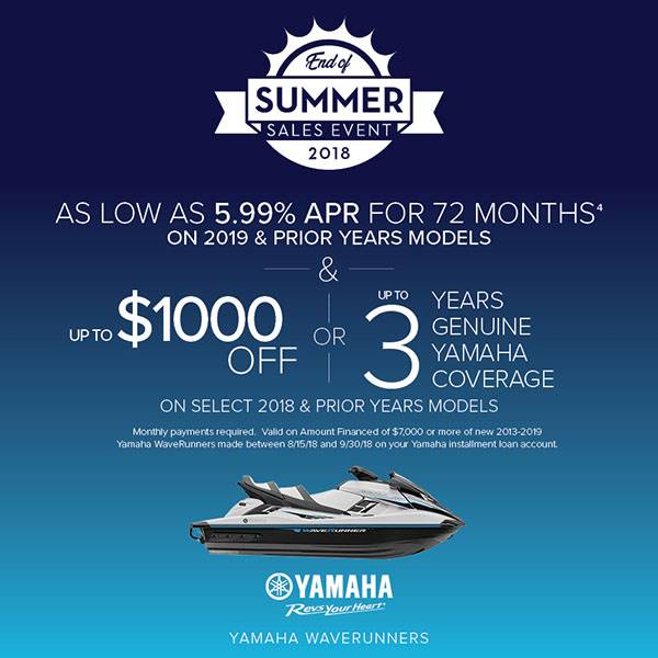 Yamaha Waverunners - 5.99% for 72 Months