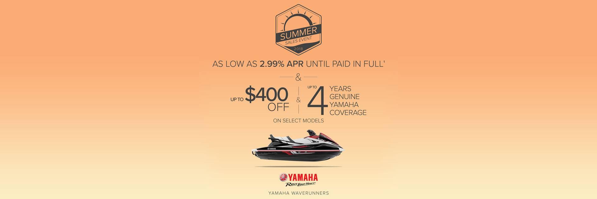 Yamaha Waverunners - Summer Sales Event 2018 - 2.99% APR