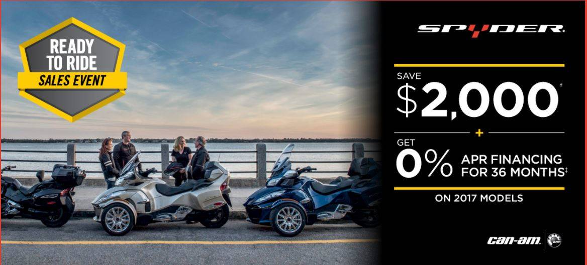 Can-Am Spyder Ready to Ride Sales Event 2017 Models