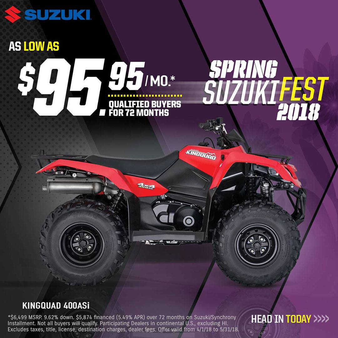 Suzuki Motor of America Inc. Suzuki - Spring Suzuki Fest for Utility Sport and Sport ATV