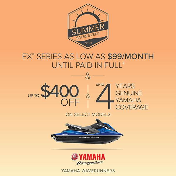 Yamaha Motor Corp., USA Yamaha Waverunners - Summer Sales Event 2018 - EX Series