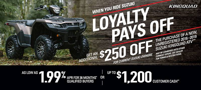Suzuki Motor of America Inc. Suzuki - KingQuad Loyalty Pays Off