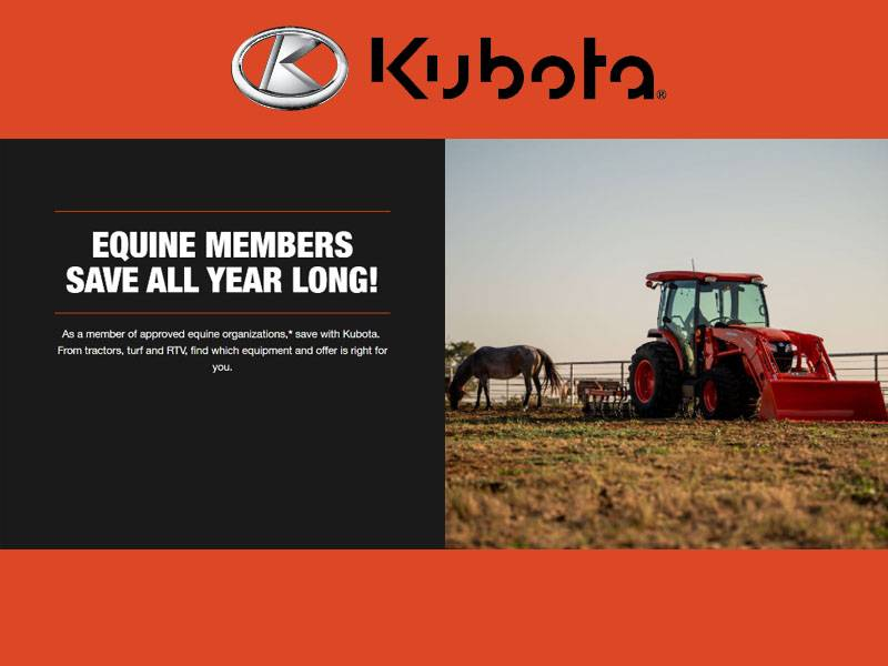Kubota - Equine Members Save All Year Long