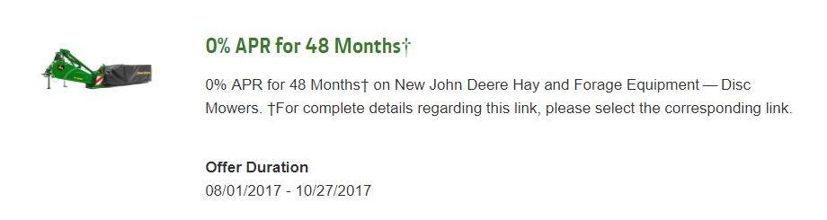 John Deere 0% APR for 48 Months¹ on New John Deere R Series Disc Mowers