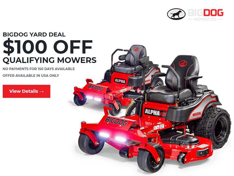 Big Dog Mower - Big Dog Yard Deal $100 Off Rex and Alpha Models