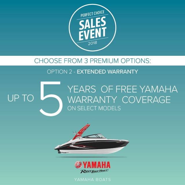 Yamaha Boats - Perfect Choice Sales Event - Free Warranty Coverage