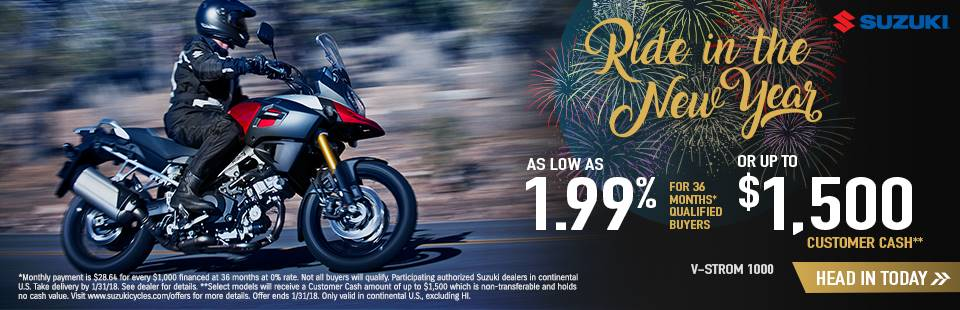 Suzuki Motor of America Inc. Suzuki Ride in the New Year with Dual Sport and Adventure Models