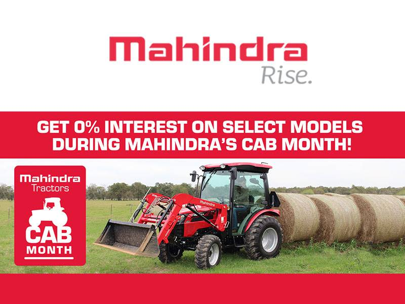 Mahindra - Get 0% Interest On Select Models During Mahindra's Cab Month