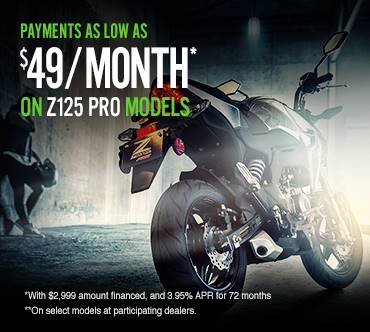 Kawasaki Z125 PRO OFFER - AS LOW AS $49/MONTH