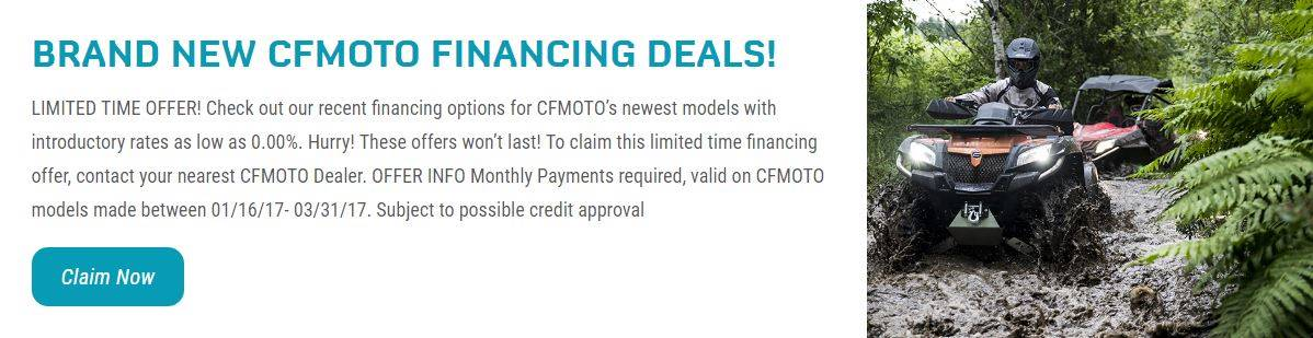CFMOTO BRAND NEW CFMOTO FINANCING DEALS!