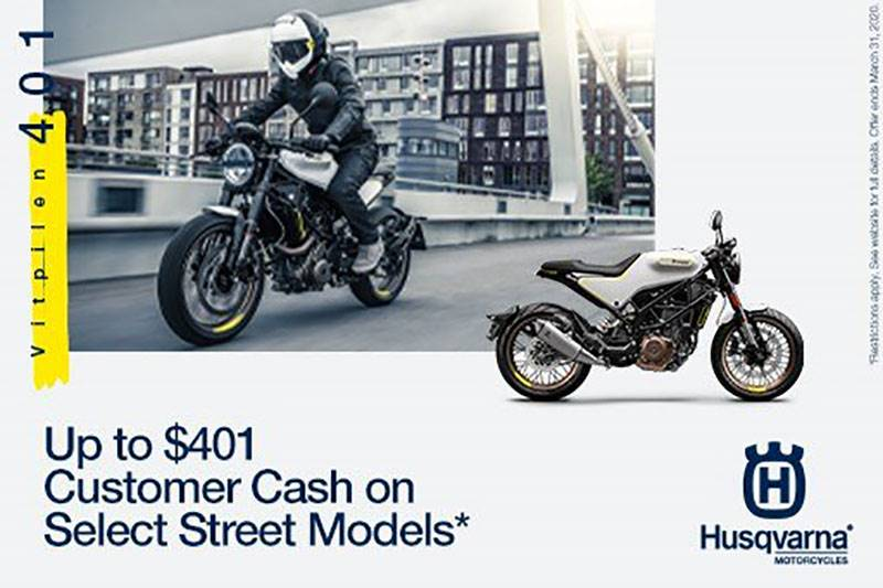 Husqvarna - Up to $401 Customer Cash on Select Street Models