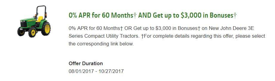 John Deere 0% APR for 60 Months¹ AND Get up to $3,000 in Bonuses4
