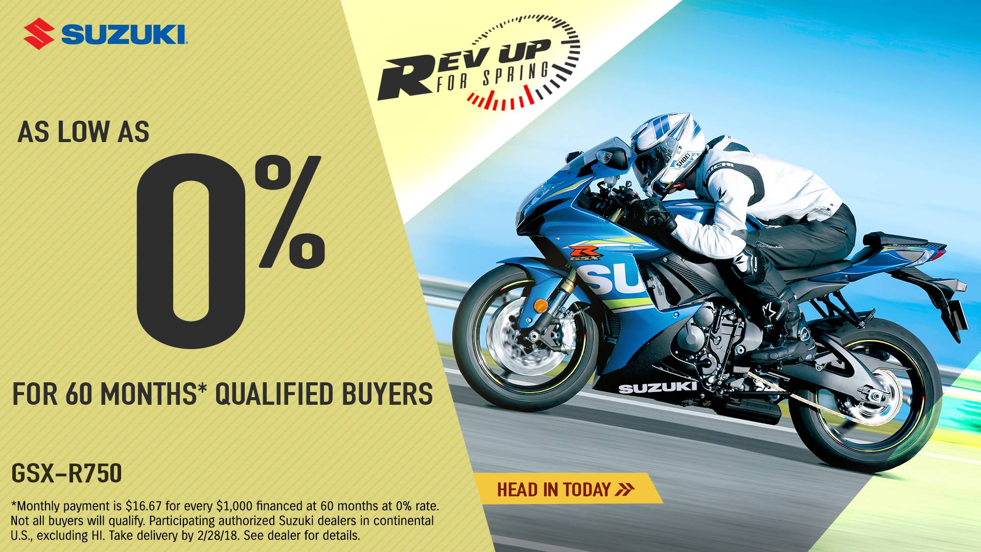 Suzuki Motor of America Inc. Suzuki - Rev Up for Spring for Sportbike and Standard