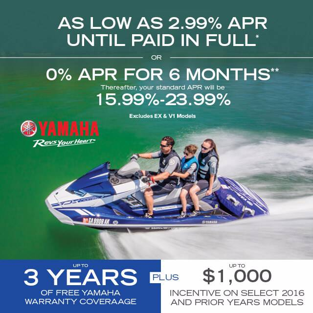 Yamaha Waverunners - 0% OR 2.99% APR - MY2012-2017