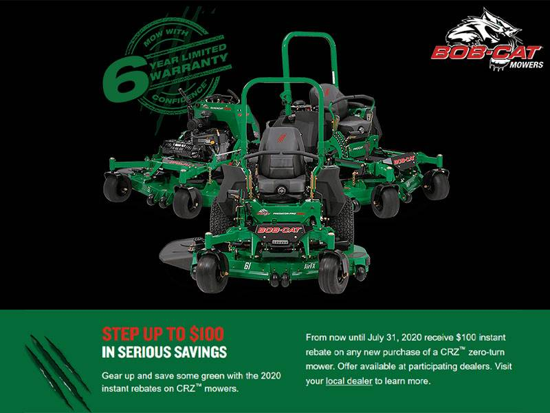 Bob-Cat Mowers - Ride Away with $200 instant rebates