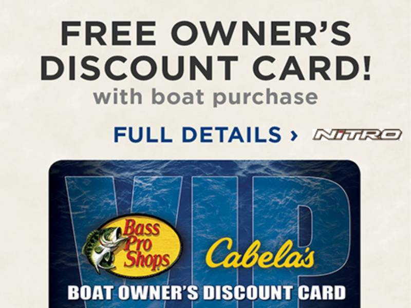 Nitro - Bass Pro Shops® and Cabela's® VIP Boat Owner's Discount Card with New NITRO® Boat Purchase