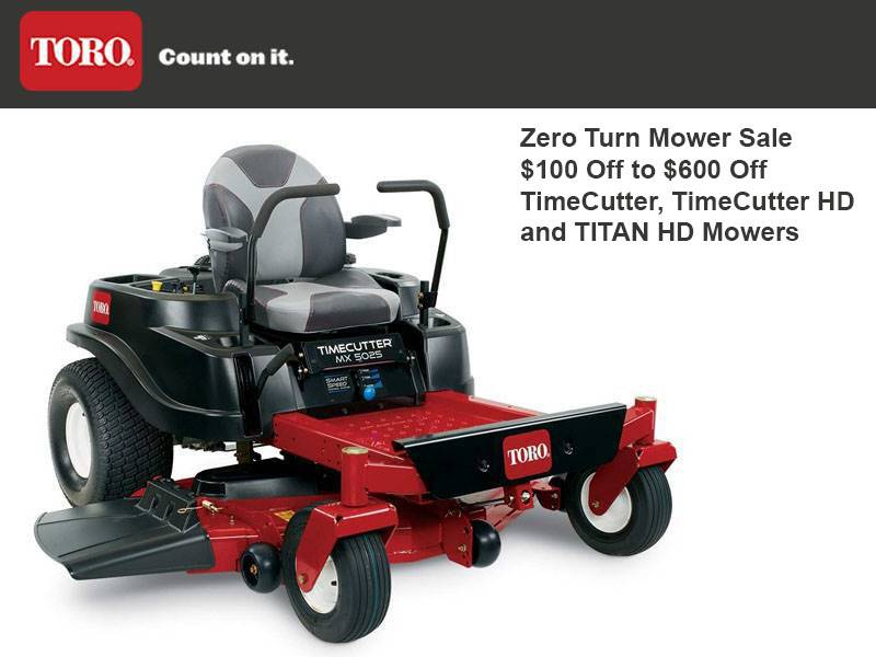 Toro -  Zero Turn Mower Sale $100 Off to $600 Off TimeCutter, TimeCutter HD and TITAN HD Mowers