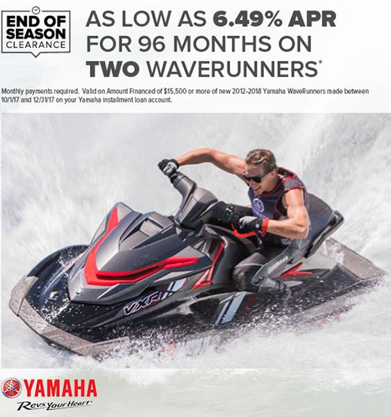Yamaha Waverunners - End of Season Clearance - 6.49% APR on TWO