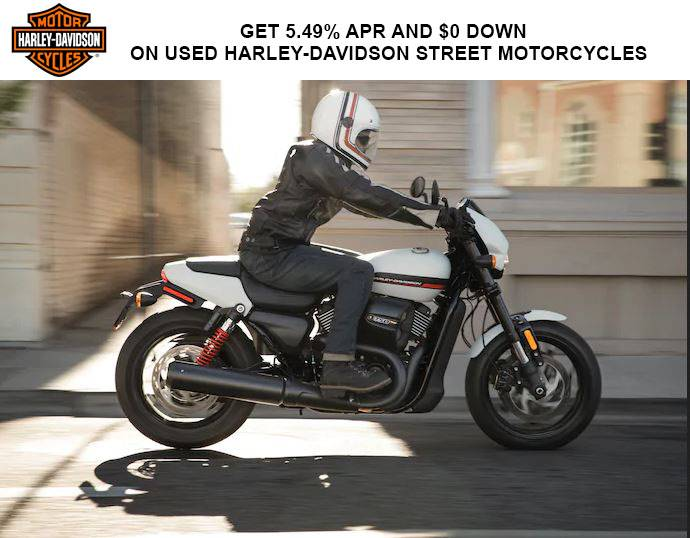 Harley-Davidson - Get 5.49% APR* and $0 Down* on Used Harley-Davidson Street® Motorcycles
