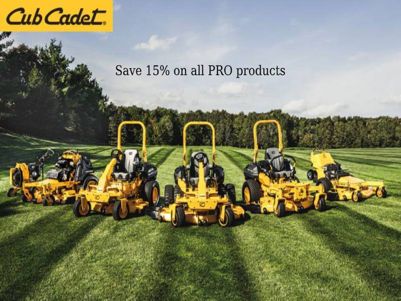 Cub Cadet - Save 15% on all PRO products