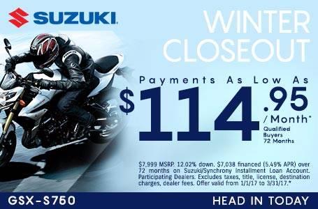 Suzuki Motor of America Inc. Suzuki Payments As Low As $114.95