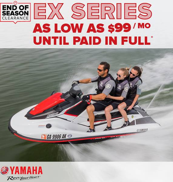 Yamaha Waverunners - End of Season Clearance - EX Series as Low as $99 Per Month