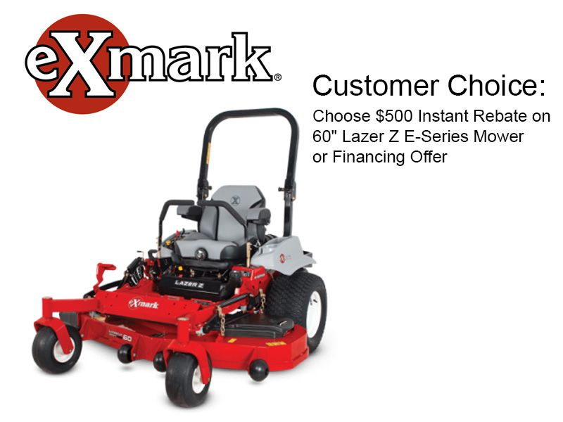 "Exmark - Customer Choice: Choose $500 Instant Rebate on 60"" Lazer Z E-Series Mower or Financing Offer"