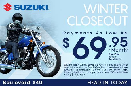 Suzuki Motor of America Inc. Suzuki Payments as Low As $69.95
