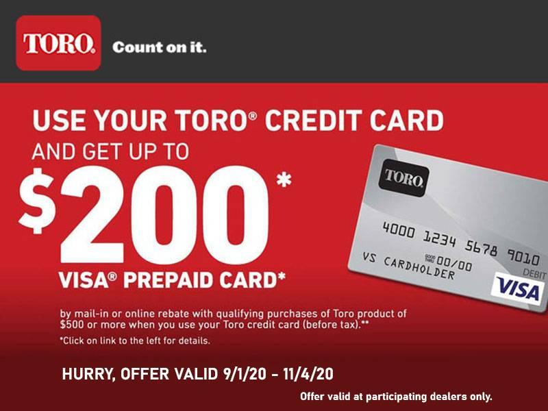 Toro - Visa Prepaid Credit Card Rebate Offer Get Up To $200